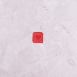 Image of Katrinkles Faux Suede Heart Square Tag, Red