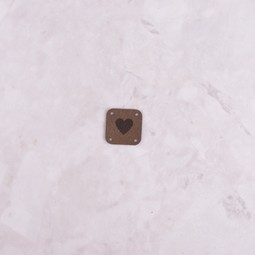 Image of Katrinkles Faux Suede Heart Square Tag, Brown