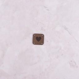 Image of Katrinkles Faux Suede Heart Square Tag, Dark Brown