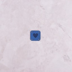 Image of Katrinkles Faux Suede Heart Square Tag, Cobalt Blue