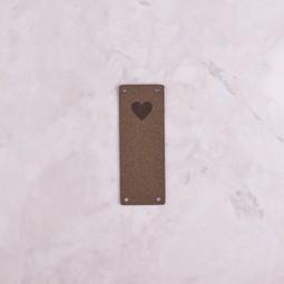 Image of Katrinkles Faux Suede Heart Foldover Tag, Dark Brown