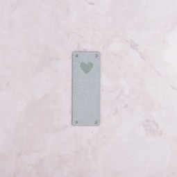 Image of Katrinkles Faux Suede Heart Foldover Tag, Light Blue