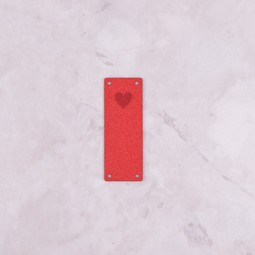 Image of Katrinkles Faux Suede Heart Foldover Tag, Red