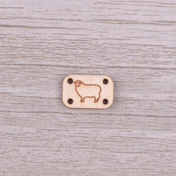 Image of Katrinkles Sew-on, Wood Woolly Sheep Tag