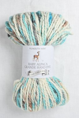 Image of Plymouth Baby Alpaca Grande Hand Dye 142 White Turquoise Speckle