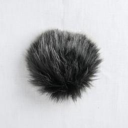 Image of Faux Fur Pom Pom Black Wolf, Tie Closure