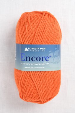 Image of Plymouth Encore Worsted 1383 Bright Orange