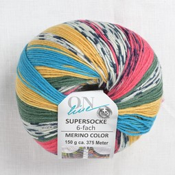 Image of OnLine Supersocke 6 Ply Merino Color 2561 Teal Yellow Pink Green