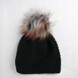 Image of Faux Fur Pom Pom Autumn, Snap Closure