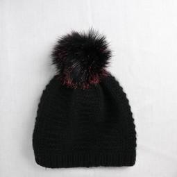 Image of Faux Fur Pom Pom Bonfire Black, Snap Closure