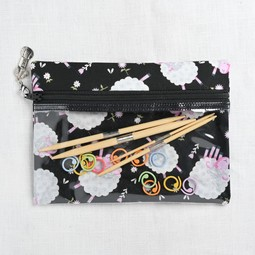 Image of Knitty Ditty Bags, Small Clear Ditty Notion Bag, Black Sheep Print