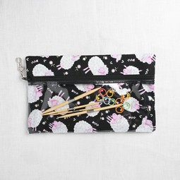 Image of Knitty Ditty Bags, Large Clear Ditty Notion Bag, Black Sheep Print