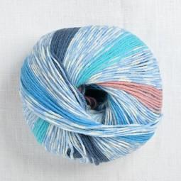 Image of Lang Merino 200 Bebe Color 320 Blue & Melon Stripe