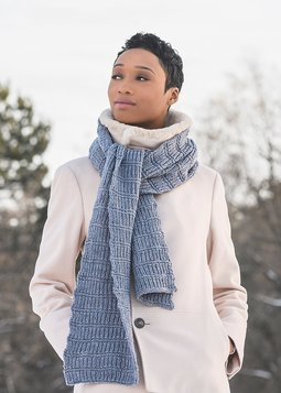 Image of Blue Sky Fibers Ramsey Ribbed Scarf Kit Morning Frost