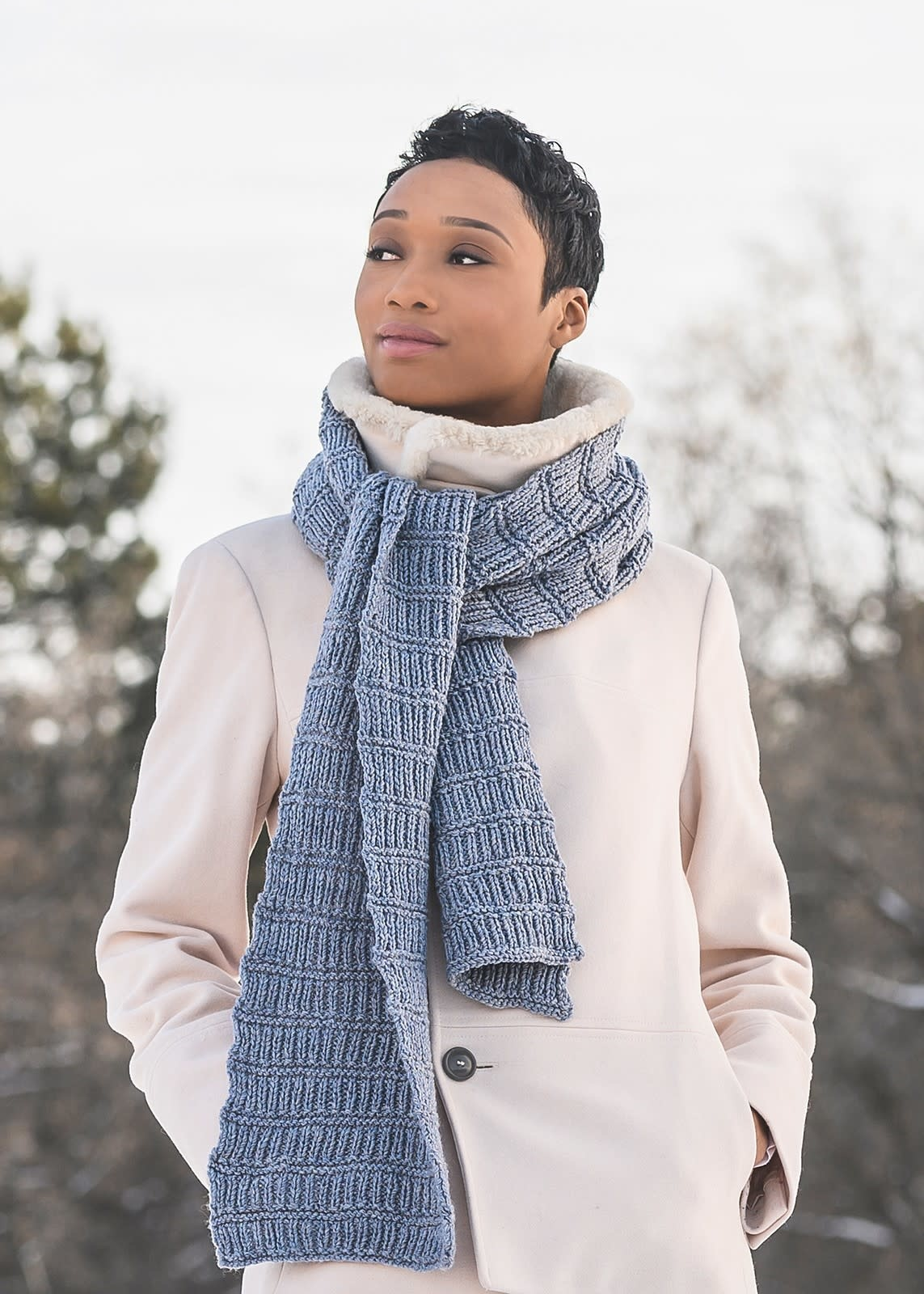 Blue Sky Fibers Ramsey Ribbed Scarf Kit Morning Frost
