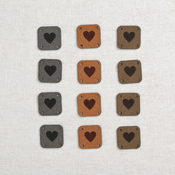 Image of Katrinkles Faux Suede Square Heart Tags, Neutrals, 12 ct.