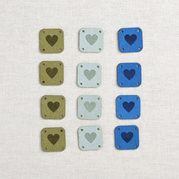 Image of Katrinkles Faux Suede Square Heart Tags, Blues, 12 ct.