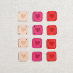 Image of Katrinkles Faux Suede Square Heart Tags, Pinks, 12 ct.