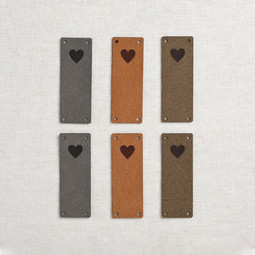 Image of Katrinkles Faux Suede Foldover Heart Tags, Neutrals, 6 ct.