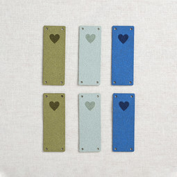 Image of Katrinkles Faux Suede Foldover Heart Tags, Blues, 6 ct.