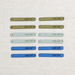 Image of Katrinkles Faux Suede Foldover Hand Knit Tags, Blues, 12 ct.