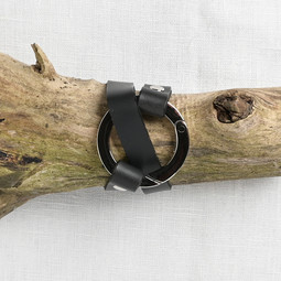 Image of JUL Designs Round Ring Shawl Cuff, Black w/ Nickel Hardware