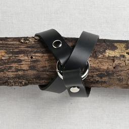 Image of JUL Designs Tiny Ring Shawl Cuff/ Bracelet, Black w/ Nickel Hardware
