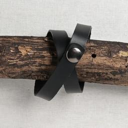 Image of JUL Designs Simple Snap Shawl Cuff/Bracelet, Black w/ Gunmetal Hardware