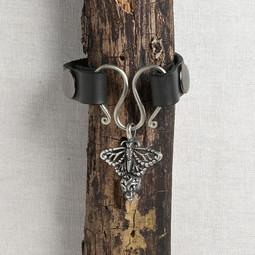 Image of JUL Designs Monarch Butterfly Serpentine Single Wrap Charm Lock Cuff, Black w/ White Brass Hardware