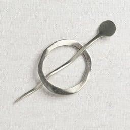 Image of JUL Designs Mid Century Modern Circle Shawl Pin, White Brass