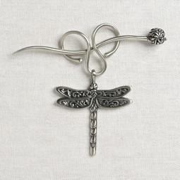 Image of JUL Designs Dragonfly Charm Lock Shawl Pin, White Brass