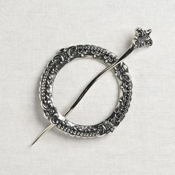 Image of JUL Designs Fleur de Lis Crown Chakra Shawl Pin, White Brass