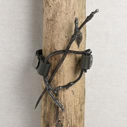 Image of JUL Designs Twig Cuff & Shawl Pin, Black w/ White Brass Hardware