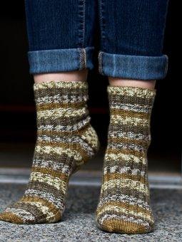 Image of Toe-Up Raised Rib Socks