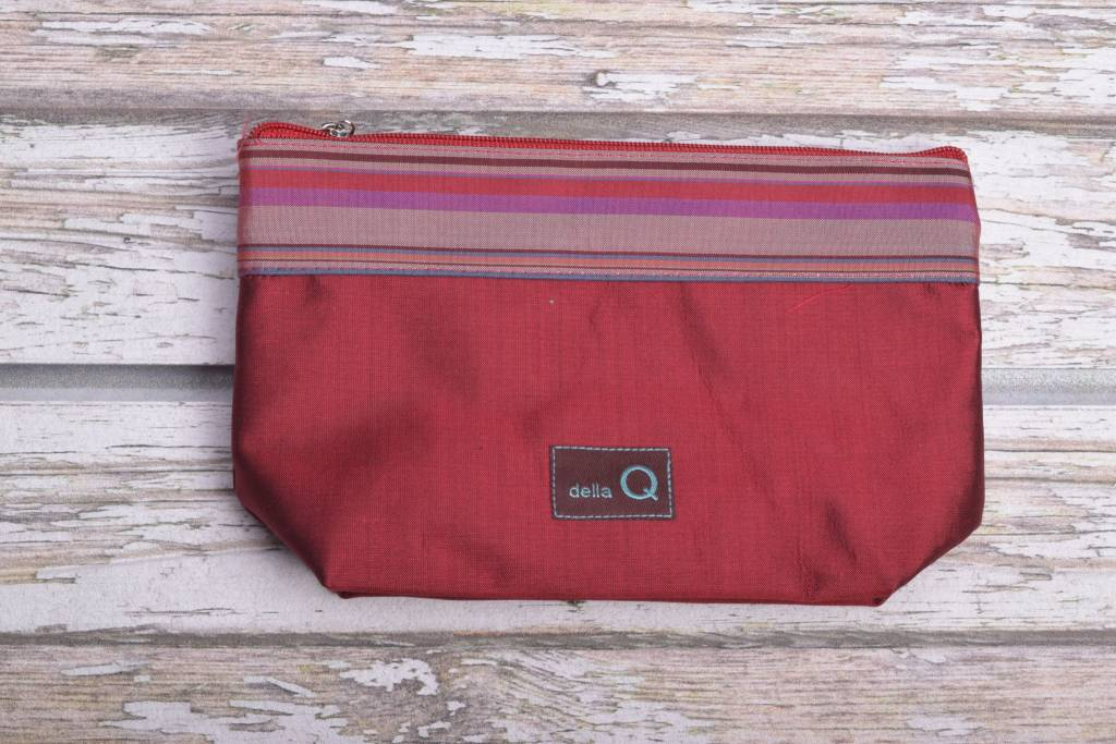 Image of Della Q Small Zip Pouch 1112-1, 4 Red Stripe
