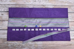 Image of Della Q Crochet Hook Roll Case 168-2, 18 Purple Stripe