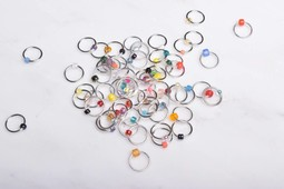Image of Suann Stitches Beaded Ring Stitch Markers, 10 ct. Fits up to US 10.5 (6.5mm)