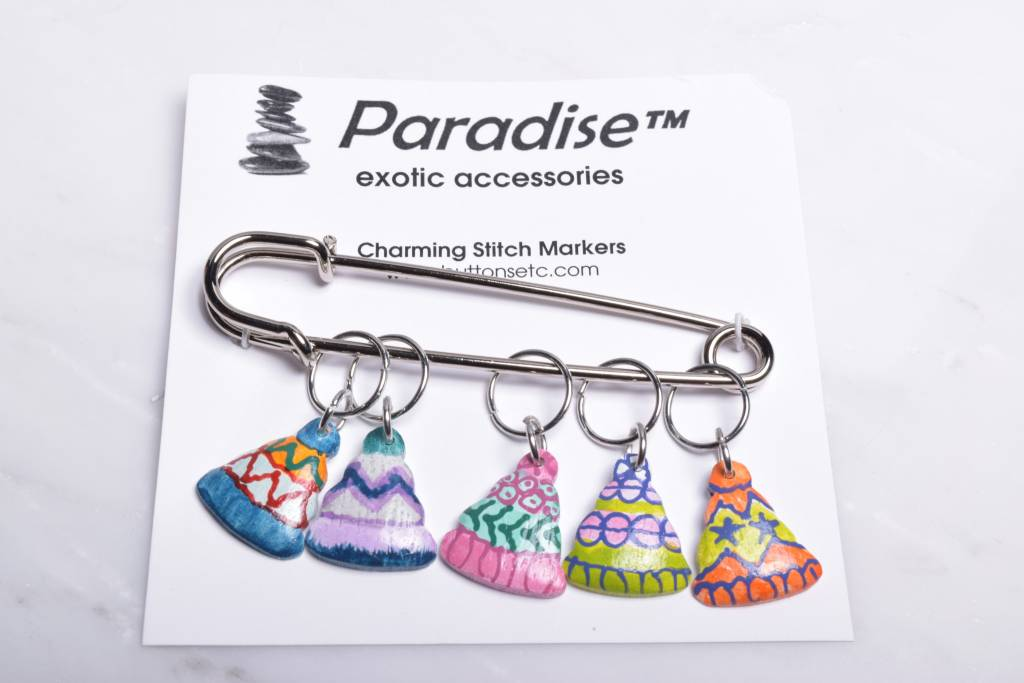 Image of Paradise Charming Stitch Markers Snow Hat