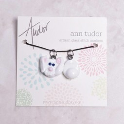 Image of Ann Tudor Stitch Markers, Bunny Head & Tail, Extra Small