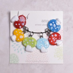 Image of Ann Tudor Stitch Markers, Mushrooms, Extra Small