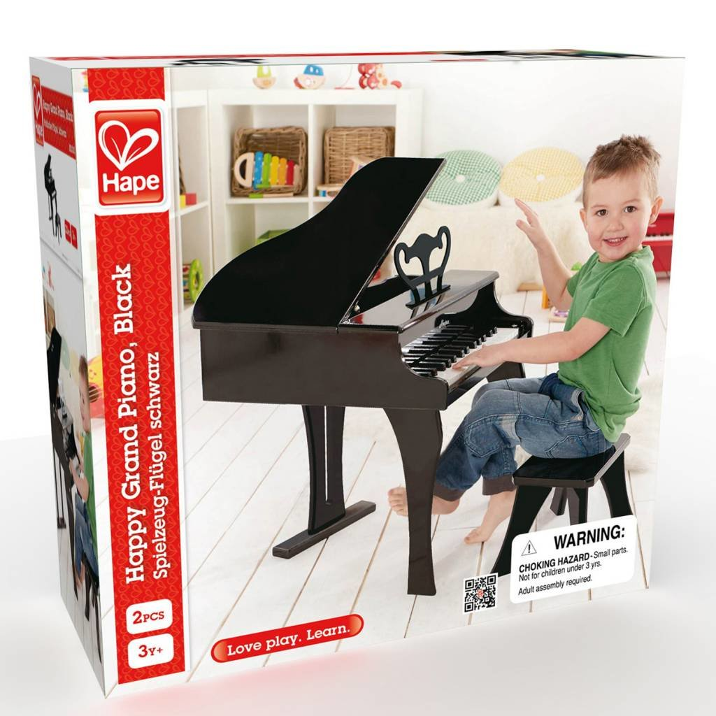30 Keys Early Education Black Wooden Happy Grand Piano for Toddlers /& Children