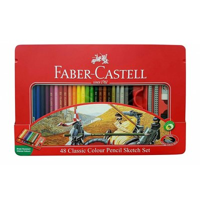 FABER CASTELL CLASSIC COLOR PENCIL & SKETCHING TIN SET