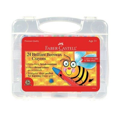 FABER CASTELL BRILLIANT BEESWAX CRAYONS IN STORAGE CASE 24 CT