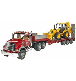 BRUDER TOYS AMERICA MACK GRANITE FLATBED WITH LOADER BRUDER