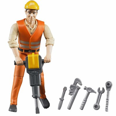 BRUDER TOYS AMERICA BRUDER FIGURE CONSTRUCTION WORKER WITH ACCESSORIES
