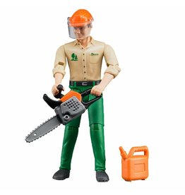 BRUDER TOYS AMERICA BRUDER  FIGURE FORESTRY WORKER WITH ACCESSORIES