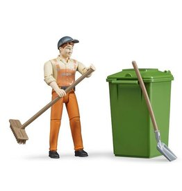 BRUDER TOYS AMERICA BRUDER FIGURE WASTE DISPOSAL WITH ACCESSORIES