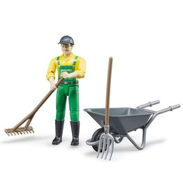 BRUDER TOYS AMERICA BRUDER FIGURE FARMER WITH ACCESSORIES