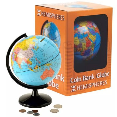 ROUND WORLD PRODUCTS COIN BANK GLOBE