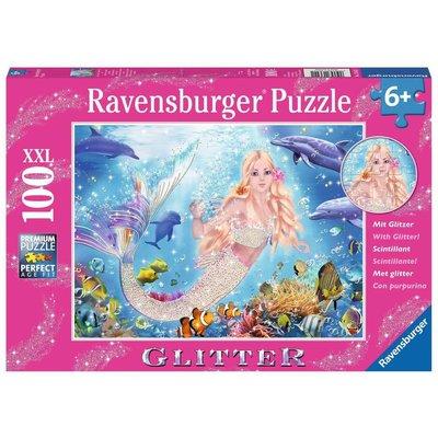 RAVENSBURGER USA MERMAID & DOLPHINS 100 PC GLITTER PUZZLE